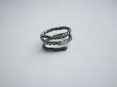 ANCIENT RARE Viking Baby Twisted Silver FINGER RING 10 - 12 century AD Wearable