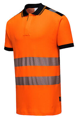 Hi-Vis Polo Shirt Portwest Vision Top Yellow or Orange contrast collar T180