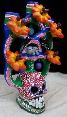Mexican Indian Tree of Life Skull Ceramic w Flowers (17cm x 22cm) Genuine