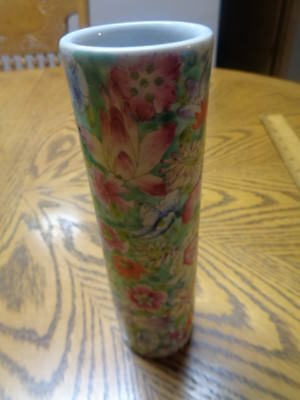 Antique Flower Pattern Chinese Stick Vase Early 1900's