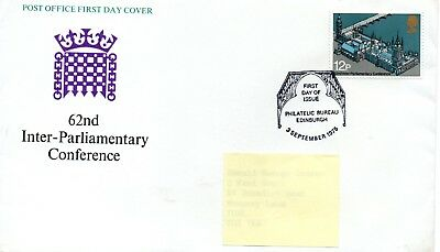 GB - FIRST DAY COVER - FDC - COMMEMS -1975- INTER-PARLIAMENTARY CONF. - Pmk PB