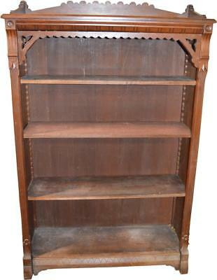 18248 Antique Walnut Victorian Carved Bookcase