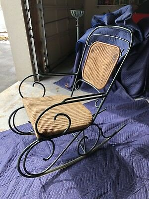 Outdoor Patio Set Cast Iron Lounge Chair, Rocking Chair And Glass Top Table