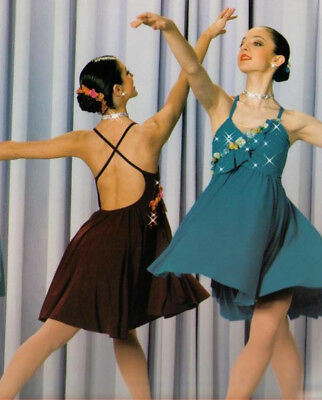 For Your World Dance Costume BURGUNDY Dress Lyrical Ballet Art Stone Adult Small