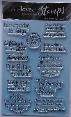 Hunkydory Clear Stamp Set FOOD GLORIOUS FOOD sentiments Set of 11