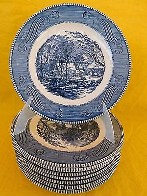 Currier and Ives Blue by Royal DINNER PLATE 1 of 17 have more items to set