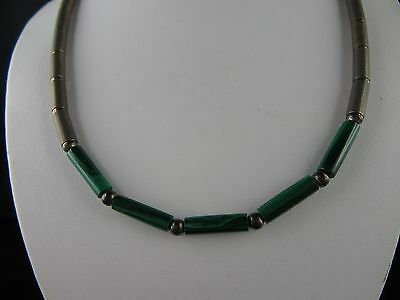 "C479 ⭐⭐ "" VERY NICE OLD SILVER NECKLACE WITH MALACHITE "" Silver 925 ⭐⭐ Top"
