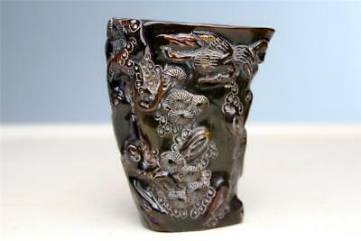 Antique Chinese  LIBATION CUP Carved Ox Horn