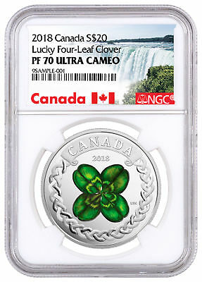 2018 Canada Lucky Clover 1 oz Silver Colorized Proof $20 NGC PF70 UC SKU52585