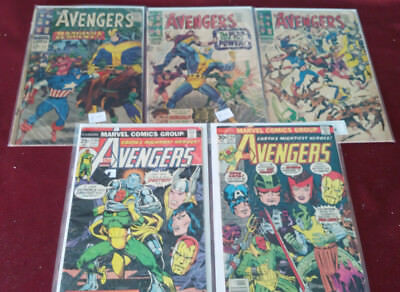 Marvel Comics Lot of 5 The Avengers Issues #33, 42,44,135,154  Average Grade G-