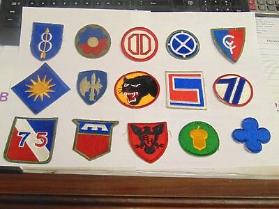 US MILITARY PATCH Lot WW2 WW11 WWii 15 Patches Army Division No Glow
