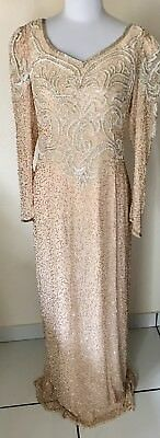 Oleg Cassini Size 16 Evening Gown Peach Beaded  Silk Fully Lined Long Sleeves