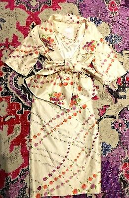 Tracy Reese silk floral jacquard jacket skirt Easter Spring suit 10