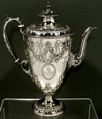 """English Sterling Silver Coffee Pot       1866        """" HAND DECORATED """""""