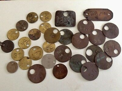 30 Antique Brass  Metal Coal Mine Pit Check Tags  SW PA