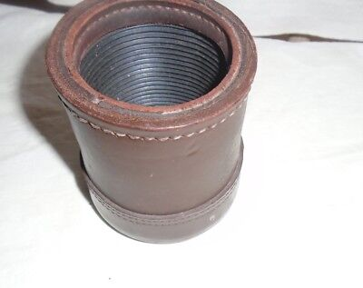 Vintage Dice Cup Brown Leather, Stitched, Inside Ribbed
