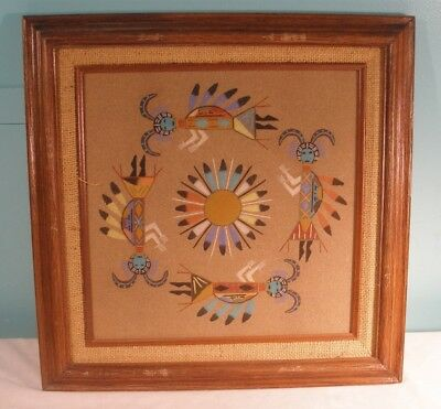 Vintage Native American Navajo Sand Painting By Helena Davison, The Sand People