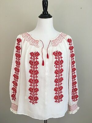 Embroidered Romanian Hungarian Folk Peasant Blouse, Red/White Vintage/Antique