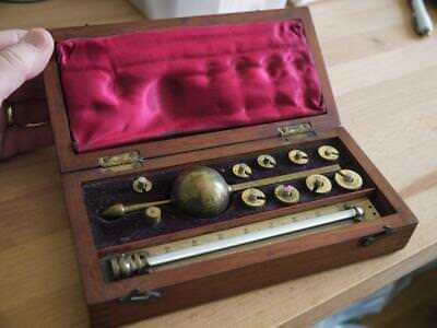 Superb Complete Antique Wooden Cased Sikes Hydrometer By T O Blake Of London