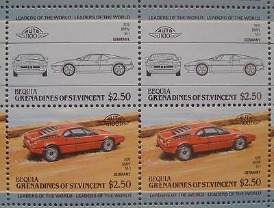 1978 BMW M1 M-1 Series Sports Car 50-Stamp Sheet / Auto 100 Leaders of the World