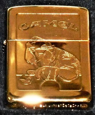 Lighter#1 22K Gold Plate 1996 SureShot Joe Camel Zippo - APA logo on back