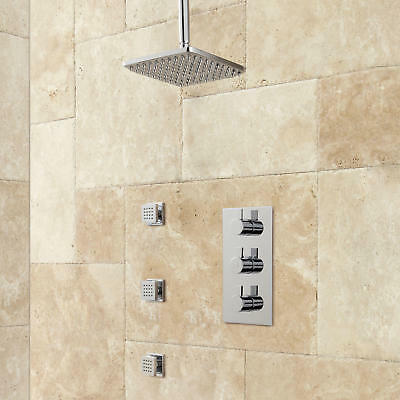 Amaury Thermostatic Shower System With Rainfall Shower And 3 Body Sprays