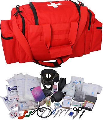 Red 200 Pcs Emergency Medical Trauma Kit Carry Bag & First Aid Supplies EMT EMS