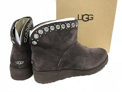 387ef470a516 UGG Australian RILEY GROMMET STOUT CLASSIC SUEDE FUR WEDGE ANKLE BOOTS  1020054