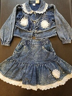 Vintage Girls Jean Skirt and Jacket size 6 Pop Kids 1980s jean outfit