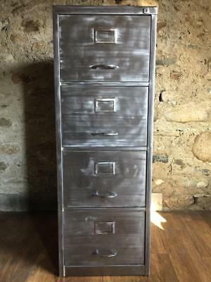 Vintage Industrial Stripped Metal 4 Drawer Filing Cabinet Foolscap Hanging Rails