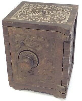Antique Ornate 1880s KENTON Cast Iron Penny Safe Still Combination Savings Bank