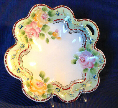 Ruffled Handled Bowl With Green Rim And Hand Painted Flowers And Moriage - Japan