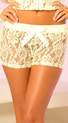 Womens Sheer Lace Hot Shorts With Bow, Stretch Lace Shorts