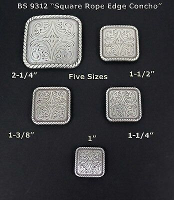 Conchos Lot Of 6 Pcs Bs 9312 Square Rope Bs 9312 Antique Silver 5 Sizes: New