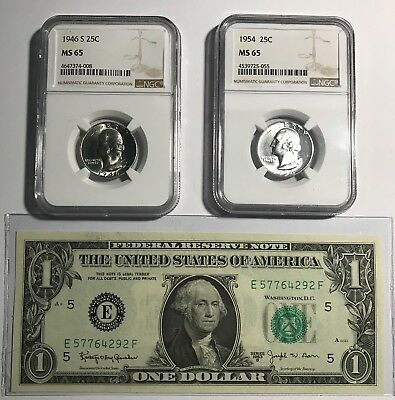 2- Rare Washington Quaters Ngc Ms-65 & Rare 1963-B $1 Richmond Gem Unc Frn Pic's