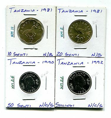 Tanzania : Lot of 4 different uncirculated coins