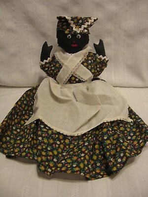 "VINTAGE 19"" BLACK AMERICANA RAG  DOLL Flower dress w/ white apron  (E63)"