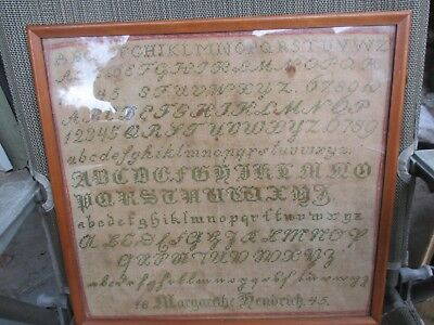 "1845 American? Sampler By Margarethe Hendrich 15"" by 15"""