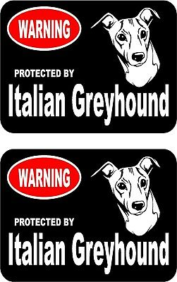 2 protected by Italian Greyhound dog bumper home window vinyl stickers #B