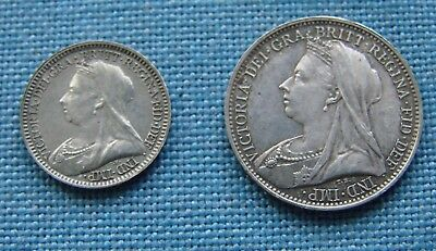 *two Very Nice 1894 Victoria Silver 4 Pence & 2 Pence - Estate Fresh.*