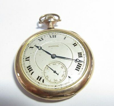 Illinois Open Face 17 Jewel 12 Size Pocket Watch
