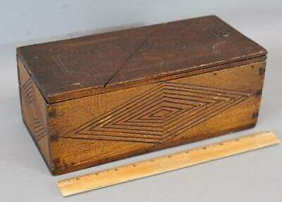 19thC Antique American Folk Art Carved Wood & Dovetailed Puzzle Box, No Reserve