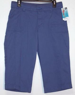 NWT Lee Relaxed Fit Mid Rise Stretch Skimmer Capri Pants 4 6 10 18 Refresh Blue