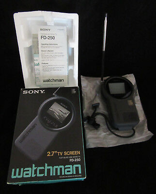 "Sony Watchman FD-250 2.7""  Portable TV Vintage Black & White Television"