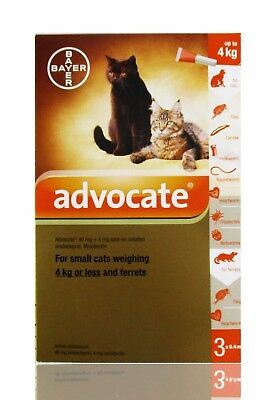 Advocate Spot-On Treatment For Small Cats Weighing 4 Kg or Less 3 pipettes/box
