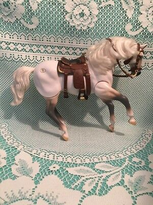 1996 Empire Industrues White Posable Horse Figurine Sound Saddle Grand Champion