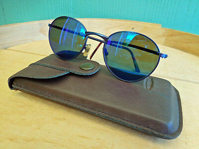 Unisex Vintage Serengeti Signia Blue Frame Mirrored Lenses Sunglasses With Case