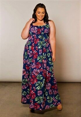 b50ab45e497 Plus Size Maxi Dress 1X-6X Empire Sleeveless Polyester Blend SWAK Navy Red  Green