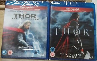 THOR And THE DARK WORLD 3D + 2D Blu-Ray 1-2 New Thor 1 2 Set Region Free New.