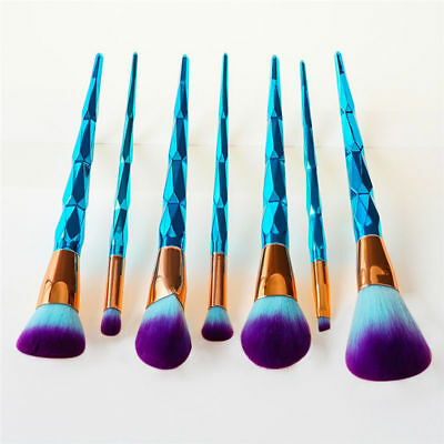 7pcs Blue Diamond Makeup Brush Powder Foundation Eyeshadow Cosmetic Brushes Set